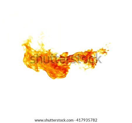Fire flames on white background - stock photo