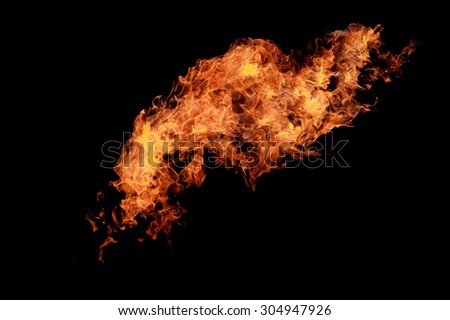 Fire flames over black
