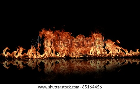 Fire flames with reflection - stock photo