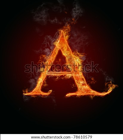 """Fire flaming letter """"A"""" - stock photo"""