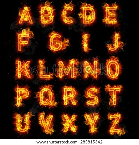 Fire font burning flaming text all letters of alphabet on black background - stock photo