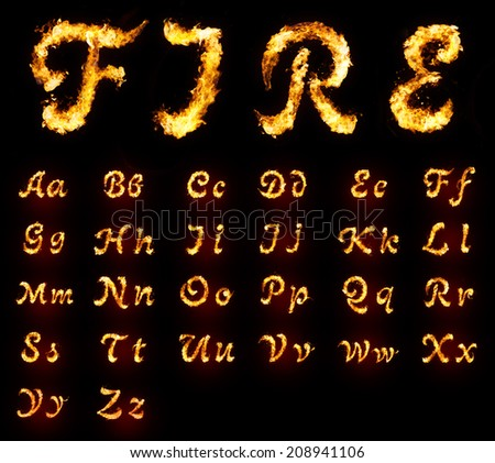 Fire font collection - stock photo