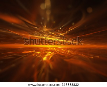 fire fractal horizon background - stock photo