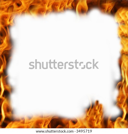fire frame with white background - stock photo