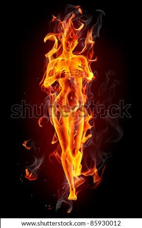 Fire girl - stock photo
