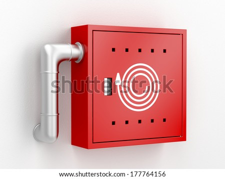 Fire hose reel cabinet, 3d rendered image - stock photo
