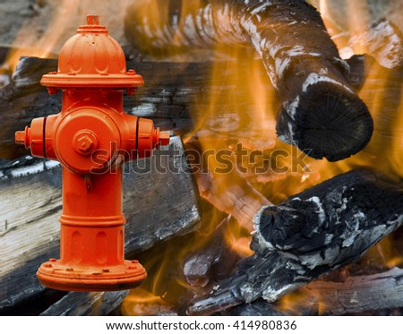 Fire hydrant over flames and burning fire background - stock photo