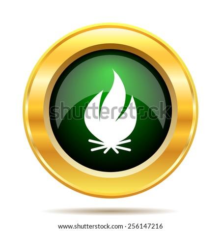 Fire icon. Internet button on white background.  - stock photo