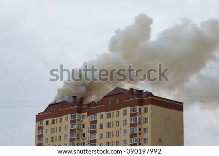 fire in a high-rise building.  - stock photo