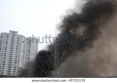Fire in abandoned industrial building. Kiev,Ukraine.March 28,2010