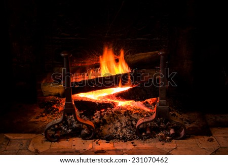 Fire in antique fireplace in old castle. Closeup. - stock photo