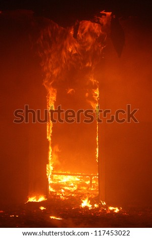 Fire in Building - stock photo