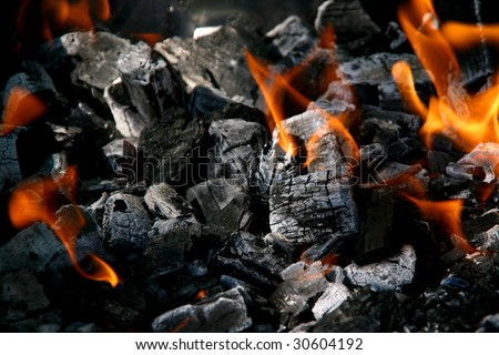 Fire in burning charcoal - stock photo