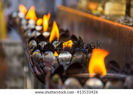fire in chimney - stock photo