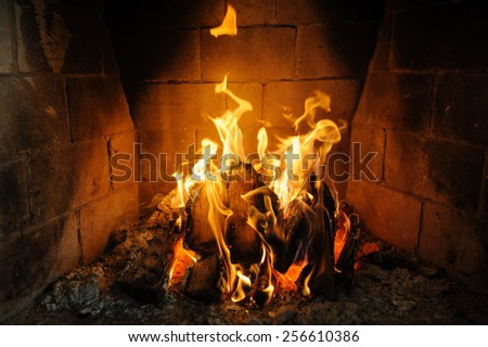 fire in fireplace and flames dance - stock photo
