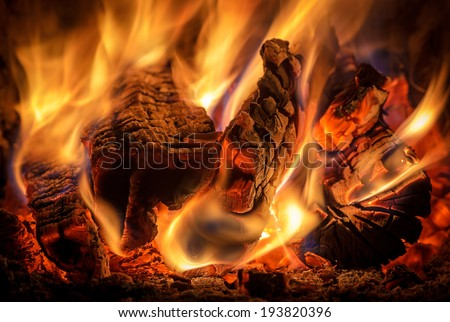 fire in the oven - stock photo