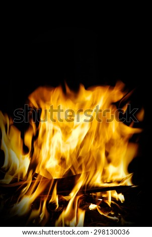 fire isolated on a black - stock photo