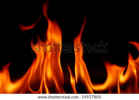 Fire isolated on black background, the more inflammatory material flame pictures in my home page - stock photo
