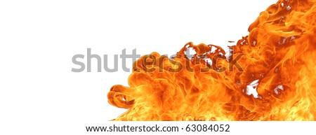 Fire isolated on white background - stock photo