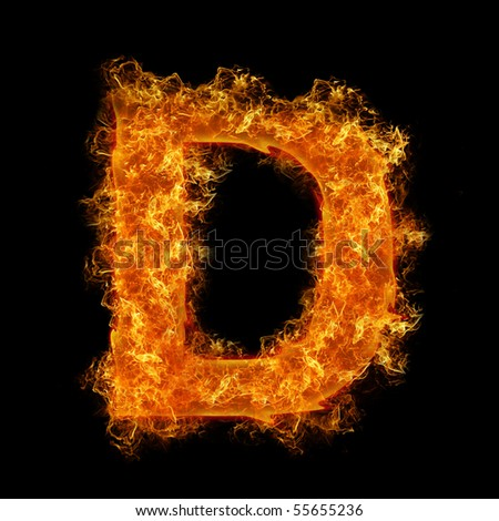 Fire letter D on a black background - stock photo
