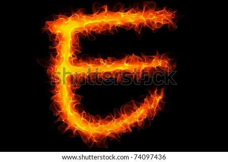 Fire letter e graffiti - stock photo