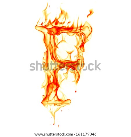 Fire letter isolated on white background - stock photo
