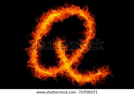 Fire letter q graffiti - stock photo