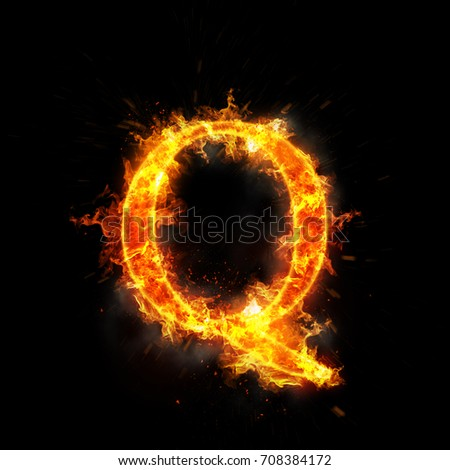 Fire letter q of burning flame.