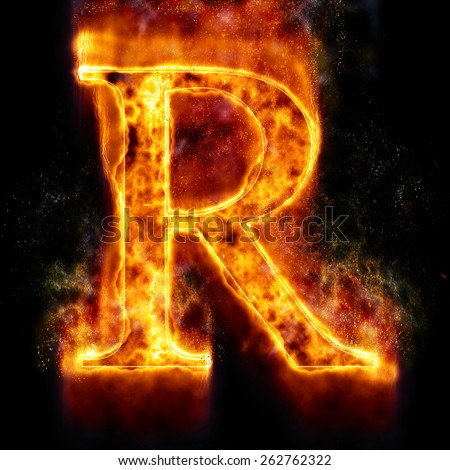 Fire Letter R - stock photo