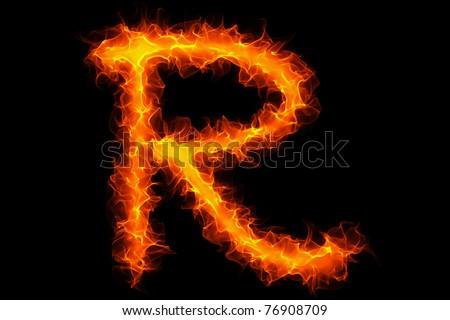 Fire letter r graffiti - stock photo