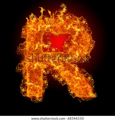 Fire letter R on a black background - stock photo