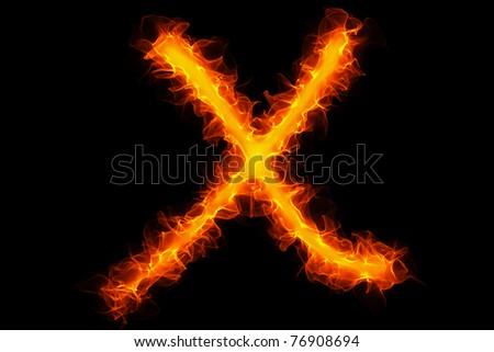Fire letter x graffiti - stock photo