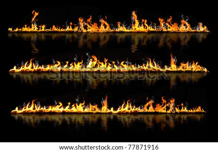 fire lines reflected in water - stock photo