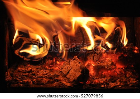 Fire made from wooden pieces