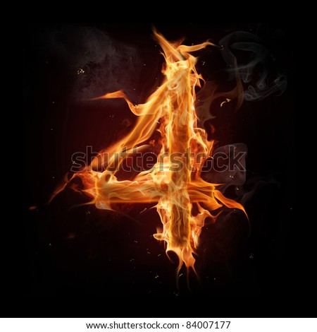 Fire number four - stock photo