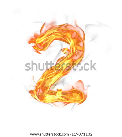 "Fire number ""2"" isolated on white background"