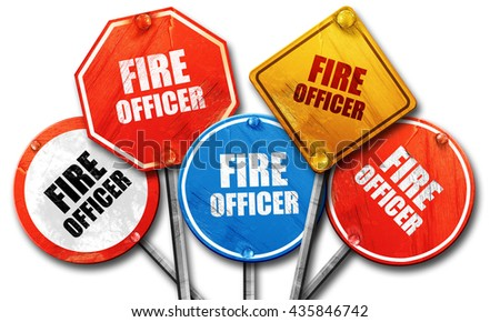 fire officer, 3D rendering, rough street sign collection - stock photo