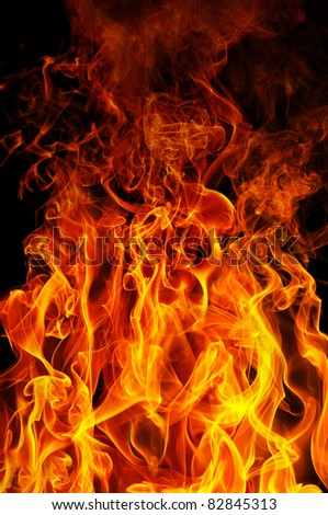 fire on a black background - stock photo