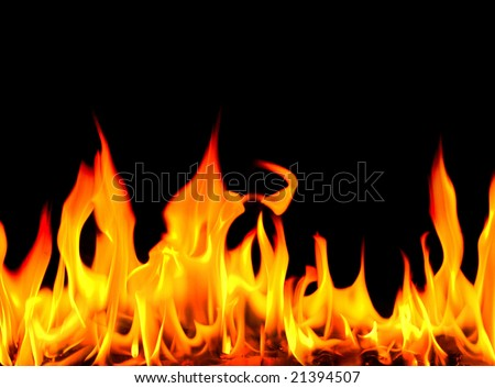 Fire on a black background. Flame. See my portfolio with similar photos. - stock photo