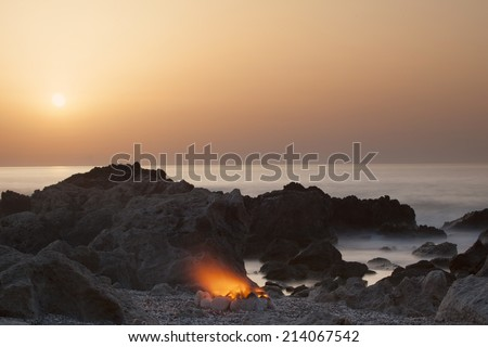 Fire on the Beach - stock photo