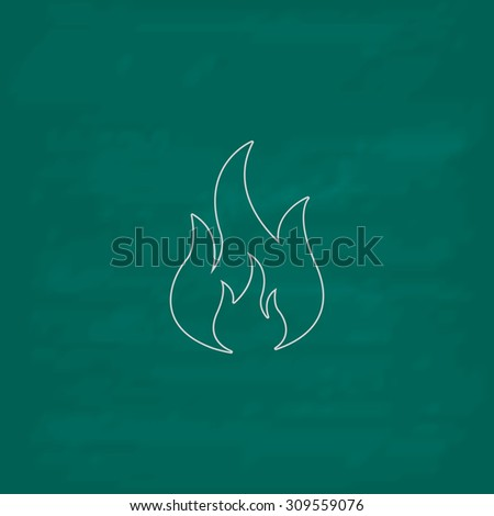 Fire. Outline icon. Imitation draw with white chalk on green chalkboard. Flat Pictogram and School board background. Illustration symbol - stock photo