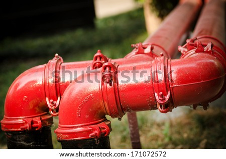 Fire pipeline,installati on of fire safety. - stock photo