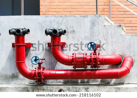 Fire pipeline or fire safety outdoor - stock photo