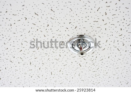 fire-prevention sensor bolted on sections of the hanging ceiling