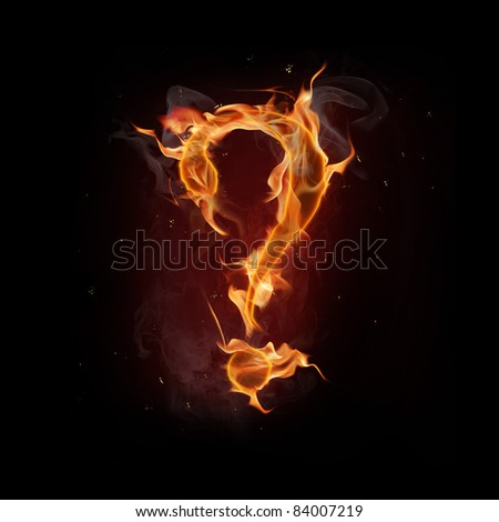 Fire  question mark - stock photo
