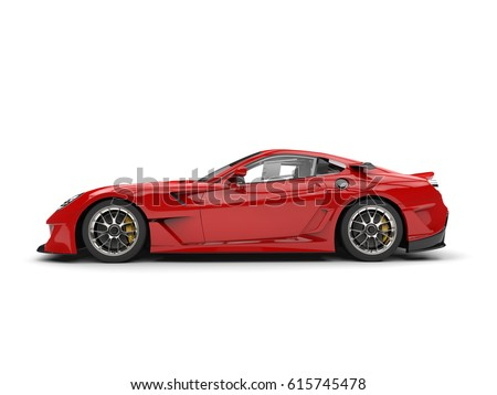 Fire Red Modern Fast Sports Car Stock Illustration 615745478   Shutterstock