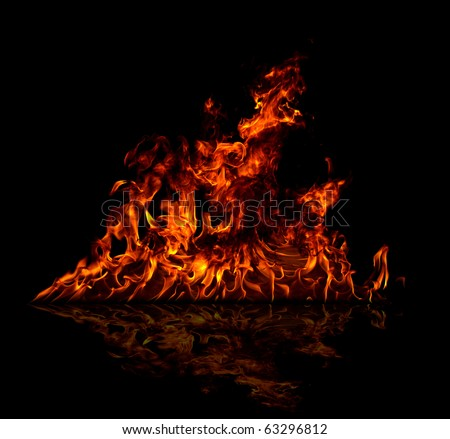 Fire reflected on floor, isolated on black background - stock photo