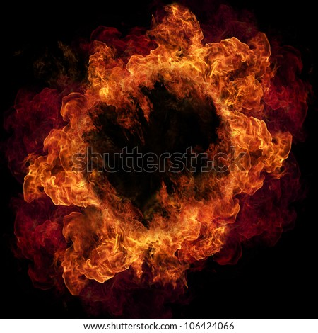 Fire ring, isolated on black background - stock photo