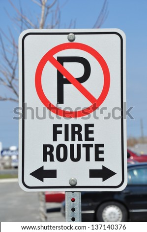 Fire Route sign - stock photo