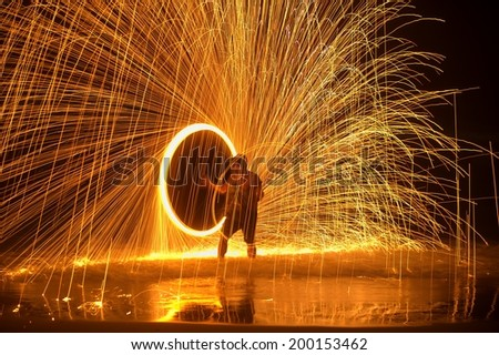 Fire show amazing at night - stock photo